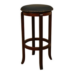 American Heritage - American Heritage Princess Stool in English Tudor with Black Vinyl - 26 Inch - A simple but sturdy frame accented with the black 360 degree full bearing swivel padded cushion makes this Princess counter or bar stool perfect for any room of the house.
