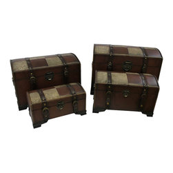 International Caravan - International Caravan Seville Set of 4 Faux Leather Trunks in Mix - International Caravan - Accent Chests - YWLF2535MX - For over 44 years International Caravan has been one of the leaders in quality outdoor and indoor furniture. Using only the finest materials they bring skill craftsmanship and complete dedication to those who enjoy their furniture. You cannot go wrong with any of International Caravan's beautifully constructed pieces of furniture that are sure to be a focal point inside or outside of your home for years to come.