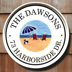 Beach Umbrella Cottage House Plaques - To find out more and how to order click here: http://www.classyplaques.com/beach-umbrella-cottage-house-plaques/