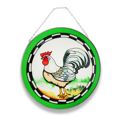 Zeckos - Colorful Rooster Suncatcher with Green Border Window Accent - Why not add color to your windows, too? It's easy with this very handsome and colorful rooster. A red and white rooster with green tail feathers takes center stage in this round sun-catcher and is framed in a lovely green that only accentuates this proud barnyard fowl and has a metal frame. Made of colored glass, it will shine brightly in the sunlight and cast a beautiful glow when hung in a window using the attached metal chain, yet would look just as stunning hanging on a wall It's the perfect size to display on a plate rack in your favorite room, too at 10 inches in diameter, and would make a very welcomed gift for a rooster collecting friend!