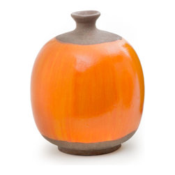 Round Vase, Orange - Handcrafted clay pottery