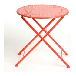 Pierced Red Patio Table - This little red retro-style metal outdoor table would be wonderful to use as a side table for drinks or hors d'oeuvres.