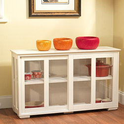 Simple Living - Simple Living Glass Door Stackable Cabinet - Solve all your storage needs with this unique stackable cabinet in an antique white finish compatible with any existing decor. This sleek cabinet has tempered glass sliding doors and is easy to stack for an endless supply of storage options.