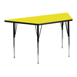 Flash Furniture - Flash Furniture 30 x 60 Trapezoid Activity Table with 1.25 Inch Laminate Top - Flash Furniture's XU-A3060-TRAP-YEL-H-A-GG warp resistant high pressure laminate trapezoid activity table features a 1.25'' top and a high pressure laminate work surface. This Trapezoid high Pressure Laminate activity table provides an extremely durable (no mar, no burn, no stain) work surface that is versatile enough for everything from computers to projects or group lessons. Sturdy steel Legs adjust from 21.25'' - 30.25'' high and have a brilliant chrome finish. The 1.25'' thick particle board top also incorporates a protective underside backing sheet to prevent moisture absorption and warping. T-mold edge banding provides a durable and attractive edging enhancement that is certain to withstand the rigors of any classroom environment. Glides prevent wobbling and will keep your work surface level. This model is featured in a beautiful Yellow finish that will enhance the beauty of any school setting. [XU-A3060-TRAP-YEL-H-A-GG]