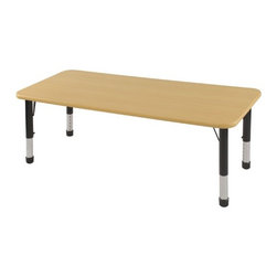 "ECR4Kids - 24x60 Rectangular Adjustable Activity Table in Maple - ELR-14108-XX : Table tops feature stain-resistant and easy to clean laminate on both sides with edge banding and color-coordinated adjustable height legs. ECR adjustable leg activity tables feature 1.125 thick tabletops with laminate on both the top and bottom. Color-coordinated powder-coated upper legs, edgebanding, and matching polypropylene ball glides in the most popular classroom colors. Will not fade or discolor. Safe, non-toxic, stain-resistant and easy to clean. Tabletop Details: -Laminate table tops are 1.125 thick and are laminated on both sides. -Color-banding grips into the tabletop edges. -Color banding is made from PET and contains no phthalates. -The table substructure is made from medium-density particleboard (47 lb/ft³) that is at least 90% recycled (minimum 4% post-consumer, balance pre-consumer).. -EPP certified, CARB compliant and may contribute to US Green Building Councils LEED Credits. -18 gauge galvanized steel stability bars, with poly caps, installed on underside of all 66 - 72 length tables. -Superior shipping materials meet or exceed ISTA regulations. Leg Details: -Powder-paint coated upper leg. -Chrome-plated adjustable lower leg insert. -Legs are adjustable in 1 increments. -Threaded adjustment holes in chrome lower leg keeps legs securely in place. -Color coordinated polypropylene ball glides and nylon swivel glides available. -Easy mount leg installation with pre-installed brackets and pre- drilled screw holes for easy alignment. -Toddler Leg size (15"" - 23""). -Standard Leg size (19"" - 30""). -Chunky Leg size (15"" - 24"")."