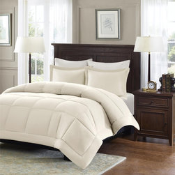 Madison Park - Madison Park Belford Microcell Down Alternative 3-Piece Comforter Set - The Microcell Down Alternative Comforter is a simple and causal update to your existing decor. This new and innovative microcell fabric is extremely soft to the touch and is machine washable for easy care.
