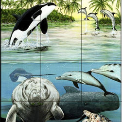 The Tile Mural Store (USA) - Tile Mural - Sea Life - Ps - Kitchen Backsplash Ideas - This beautiful artwork by Patrick Sullivan has been digitally reproduced for tiles and depicts a vast collection of sealife.  Our mermaid and manatee tile murals are a great way to add something unique to your kitchen backsplash tile project. Make your tub and shower surround bathroom tile project exceptional with one of our decorative tile murals of mermaids or manatees. Decorative tiles with mermaids are beautiful and timeless and will never go out of style. Make a mermaid tile mural or a tile mural of manatees part of your bathroom wall tile and enjoy this tile mural every day in your newly renovated bathroom.