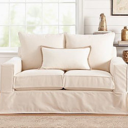 "PB Comfort Square Loveseat, Down-Blend Cushions, Textured Basketweave Flax - Built by our exclusive master upholsterers in the heart of North Carolina, our PB Comfort Square Slipcovered Love Seat is designed for unparalleled comfort with deep seats and three layers of padding. 63"" w x 40"" d x 37"" h {{link path='pages/popups/PB-FG-Comfort-Square-Arm-4.html' class='popup' width='720' height='800'}}View the dimension diagram for more information{{/link}}. {{link path='pages/popups/PB-FG-Comfort-Square-Arm-6.html' class='popup' width='720' height='800'}}The fit & measuring guide should be read prior to placing your order{{/link}}. Choose polyester wrapped cushions for a tailored and neat look, or down-blend for a casual and relaxed look. Choice of knife-edged or box-style back cushions. Proudly made in America, {{link path='/stylehouse/videos/videos/pbq_v36_rel.html?cm_sp=Video_PIP-_-PBQUALITY-_-SUTTER_STREET' class='popup' width='950' height='300'}}view video{{/link}}. For shipping and return information, click on the shipping tab. When making your selection, see the Quick Ship and Special Order fabrics below. {{link path='pages/popups/PB-FG-Comfort-Square-Arm-7.html' class='popup' width='720' height='800'}} Additional fabrics not shown below can be seen here{{/link}}. Please call 1.888.779.5176 to place your order for these additional fabrics."