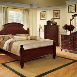 Furniture of America - Furniture of America Alianess European Style 4-Piece Cherry Poster Bedroom Set - Add a touch of simple elegance to your home with this bedroom set. The platform style bed has fluted accents and decorative bed knobs,and the matching case goods are adorned with antique gold knobs.