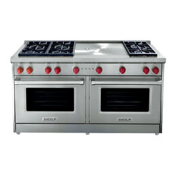 Wolf All Gas Range GR606F - The GR606F is the very pinnacle of Wolf's all gas ranges.  Featuring two large manual clean convection ovens, Wolf's 60 inch range is ready to tackle any culinary challenge.  The cook top of the range features six burners and a French top.  Other cook top configurations include: