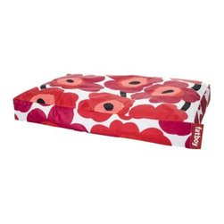 """Fatboy - Fatboy Marimekko Doggielounge by Fatboy - Even doggies appreciate a little fashion with their bedding. The Fatboy Marimekko Doggielounge is made out the same durable coated nylon cover with polystyrene fill as the other Doggielounges, but with the iconic Marimekko graphic floral pattern. Available in Black or Red and two sizes.In 1988, Dutch designer Jukka Setala came up with an ingenious way to make the bean bag chair much more luxurious, durable and adaptable than its 1970s ancestor. Fast forward to 2002, when Alex Bergman adopted Setala's idea of the modern lounge chair and launched """"Fatboy the Original."""" Fatboy now offers a range of fun and functional modern accessories and pet beds.The  Fatboy Marimekko Doggielounge is available with the following:Details:Polystyrene fillingCoated nylon fabric exteriorRemovable filling to increase/decrease firmnessWashable outer coverOptions:Color: Black, or Red.Size: Large, or Small.Please Note:Fill will shrink over time depending on use, but refills are available for purchase.Care Instructions:Wipe clean with lukewarm water and mild soap.Shipping:This item ships in approximately 1 week."""