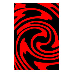 Rug - 3-Piece Red with Black Living Room Area Rugs Set, Geometric & Machine Made - GEO COLLECTION