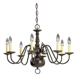 Progress Lighting - Progress Lighting P4357-20 Americana 8 Light Chandelier In Antique Bronze - Progress Lighting P4357-20 Americana 8 Light Chandelier In Antique Bronze