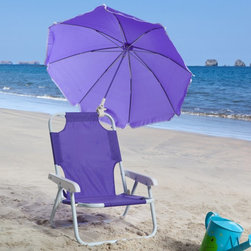W C Redmon - Kids Purple Beach Chair & Umbrella - 9001PR - Shop for Childrens Outdoor Furniture from Hayneedle.com! Give your child the Kids Purple Beach Chair & Umbrella and protect her or him from the sun's harmful rays. Kids love toting their very own chair to the beach on a camping trip to a picnic or on family outings. The Kids Purple Beach Chair & Umbrella is lightweight and easy to transport. It folds into a compact flat unit for storage when not in use. Its nylon material is durable and washable.The permanently attached umbrella is not removable - it's adjustable to several angles providing shade throughout the day. It features white piping around its material. All seams are double stitched for durability. The frame is metal tube with baked scratch-resistant enamel for weather protection and wear. The Kids Purple Beach Chair & Umbrella weighs less than 3 lbs.