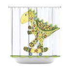DiaNoche Designs - Shower Curtain Artistic - Dinosaur Skater - DiaNoche Designs works with artists from around the world to bring unique, artistic products to decorate all aspects of your home.  Our designer Shower Curtains will be the talk of every guest to visit your bathroom!  Our Shower Curtains have Sewn reinforced holes for curtain rings, Shower Curtain Rings Not Included.  Dye Sublimation printing adheres the ink to the material for long life and durability. Machine Wash upon arrival for maximum softness. Made in USA.  Shower Curtain Rings Not Included.