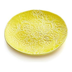 """Toulouse Yellow 9.5"""" Plate - A distinctive way to personalize your place settings, these beautiful French plates are crafted of stoneware with an intricate botanical pattern in raised relief, freeform rims and artisanal glazes in a mix of rich colors. Choose one shade, mix them up or combine them with other traditional or modern pieces for your own unique dining statement."""