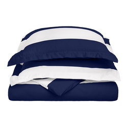 """600 Thread Count King/California King Duvet Set Cotton Rich Cabana Stripe, Navy - Send yourself on a tropical vacation every night with this Cabana Inspired duvet cover set from Impressions. This design features stripes of white and the sets specified color and is made with a superior blend of materials that makes these duvets soft, easy to care for and wrinkle resistant. Set includes one duvet cover 106""""x92"""" and two pillow-shams 20""""x36"""" each."""