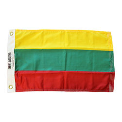 """Flagline - Lithuania - 12""""X18"""" Nylon Flag - Flags were, historically, the sole method of communication for vessels at sea. Over the years rules and regulations have developed to manage how and where flags should be used. As a matter of courtesy, it is appropriate to fly the flag of a foreign nation on your boat when you enter and operate on its waters. The courtesy flag, as it is called, is hoisted only after the appropriate authorities have granted clearance. Until clearance is obtained, a boat must fly the yellow quarantine flag. It is also considered common courtesy to fly the national flag(s) of your guest(s) on board, if they have a different nationality than the ensign the boat is showing. Made of high quality weather-treated nylon, these flags sport a canvas header with brass grommets - perfect for any marine use."""