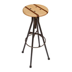 "Hueber Industries LLC - Adjustable Drafting Style Bar Stool - Wood and Steel - A simple solution for a comfortable seat at any bar top within the range of  41"" - 47"",  these swiveling bar stools will adjust from 29"" - 36"" to meet a wide range of bars or tables.  The bar stool pictured is maple with walnut inlays.  The base is made from solid steel rod and plate (it is heavy!).  These come standard with a rubber padded foot.  These elegant ""drafting style"" bar stools are a perfect touch for any home or business.  Please feel free to contact for special requests regarding specific dimensions or materials."