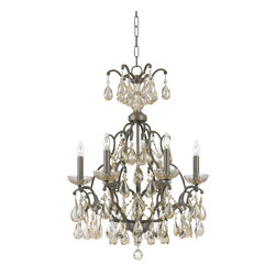 Triarch - Triarch Versailles Chandelier X-36423 - Versailles 6-Light Chandelier in Antiqued Bronze accented with Golden Teardrop and Prism Crystals