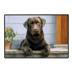 160-Chocolate Lab-Porch Doormat - 100% Polyester face, permanently dye printed & fade resistant, nonskid rubber backing, durable polypropylene web trim on the porch or near your back entrance to the house with indoor and outdoor compatible rugs that stand up to heavy use and weather effects
