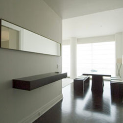Floating Shelf & Mirror - Modern entry floating shelf with miter joint drawers.