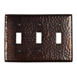 None - Solid Copper Triple Switch Plate Cover - Hand hammered, solid copper triple switch plate cover. Mounting hardware included.