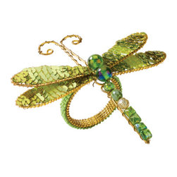 Sequin Dragonfly Napkin Rings, Green, Set of 4 - These dragonfly napkin rings will add some fun dimension to the table.