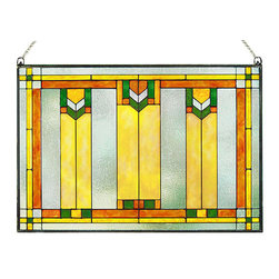 "Maclin Studio - Arts and Crafts Prairie Window Art Glass Panel Green - Our striking new Arts and Crafts Prairie Window Art Glass Panel Green is hand made in the USA with a color palette of Green, Gold Ambers and Frosted Clear. Ht: 14"" W: 20.5"". On this glass panel, enamel colors are individually applied to a single sheet of glass giving each panel unique aspects of both color and texture. The glass is then framed with a patinated metal came and comes complete with two mounting chains."