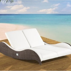 Domus Ventures Luxor Double Sunlounger Chaise Lounge - Make the most of your alone time by sharing it with someone dear, on your Domus Ventures Luxor Double Sunlounger Chaise Lounge. This amazing side-by-side chaise allows you to share some personal relaxation time with someone close. And to ensure that you each are able to fully pamper your own personal needs and preferences, this chaise allows each lounger to individually adjust his or her seatback to find just the right pitch, whether reading, sunning, sleeping, sipping, or simply chatting. At full recline, this bed stretches out a full 180 degrees for completely flat laying, perfect for napping or evenly tanning; and when you're ready to sit back up a lever on each side helps you easily readjust to upright positioning. The soft cushioning and synthetic leather upholstery provide a luxurious surface that will easily give beneath you while providing supportive padding. The rich Bark-colored wicker on the undulating supportive side frame pairs exquisitely with the Marina Creme upholstery to create a breezy resort feel that works well with any outdoor decorating style.This collection is constructed with lightweight aluminum frames that are wrapped in hand-woven synthetic wicker, for outdoor use in any climate. This unique fiber is not just outstandingly weatherproof, safeguarding against fading, cracking, splitting, and molding - it is also dirt resistant, making it easy to clean and maintenance free. The high-density polyethylene composition is also environmentally friendly and 100 percent recyclable. Likewise, the upholstery uses MarinaPLUS outdoor synthetic leather. Commonly used on yachts because of the harsh weather conditions out on the open sea, this synthetic material assures the highest level of dimensional stability and stretch resistance for lasting comfort and luxury. Lastly, the high quality of care that goes into this superior construction means that these pieces will last for years to come, which is good for the environment and good for your wallet.About Domus Venutures Pte. Ltd.Established in 1997, Domus Ventures is a German-owned manufacturer that has grown into a dominant global player in the furniture industry. Exporting over 1,600 containers annually, each design and each piece is subjected to the highest level of scrutiny, ensuring the company's commitment to excellence. Often using materials such as teak, natural wicker, loom, paper fiber, and resin wicker, Domus Ventures is always exploring and testing new materials to find beautiful and sustainable high-quality designs while striving to produce unique modern and contemporary furniture that creates the perfect setting for your home and lifestyle, whatever your taste, budget, or needs might be. Despite their growth into a company that employs over 2,200 factory and office staff in China, Indonesia, Singapore, Germany, and the United States, Domus Ventures prides itself not just on its products but also on its ethical production, which includes decent worker benefits and compensation as well as ecofriendly green initiatives.
