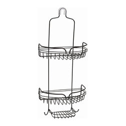 Zenith - Over the Shower Caddy in Heritage Bronze - 75 - Manufacturer SKU: 7529HB. Bath Storage. Rust resistant finish. Includes hooks and razor storage. Slip-proof collar and suction cups are included to secure caddy. Material: 100 % Painted Steel. Bronze finish. 10.13 in. L x 5.63 in. W x 23.75 in. H (2.38 lbs.)Organize your shower instantly with this easy to install rust-resistant showerhead caddy. Provides storage for bottles, razors, soap, shower puffs & more. Slip-proof collar and suction cups are included to secure caddy.