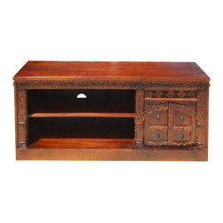 """Sierra Living Concepts - Langley Solid Hardwood Hand Carved 55"""" Long Media Stand - Add the spirit of royal elegance to your entertainment center with the Langley Solid Hardwood Hand Carved 55"""" Long Media Stand."""