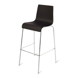 Blu Dot - Blu Dot Barstool Barstool, Black - Because bars should never have to play second fiddle to tables, we offer the Chair Chair seat in both bar heights as well. Choose from black and chocolate leather alternative. Enjoy. Enjoy.Chrome-plated steel legs, Graphite on Oak: Stained technical white oak on bent ply, Ebony: Ebony veneer on bent ply, Technical White Oak: Technical white oak on bent ply