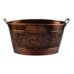 Old Dutch - 18 x 10.5 x 9.5 Antique Embossed Heritage Party Tub 5.5 Gallons - Invoke a renaissance in the culinary arts with this copper party tub that is elegantly-designed for both aesthetic and functional appeal. Party tubsare perfect for cooling drinks like champagne or other fine liquors. This party beverage tubcan also hold firewood, magazines, knitting supplies and more. This beverage tub features convenient side carry handles.