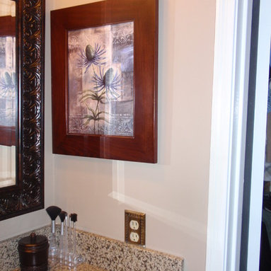 Recessed Picture Frame Medicine Cabinets with No Mirrors - Large Espresso Concealed Cabinet with white interior from ConcealedCabinet.com.  You insert your own artwork and change it as often as you like!