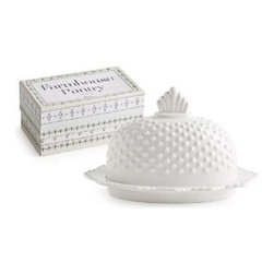Rosanna - Farmhouse Pantry Lidded Hobnail Butter Dish By Rosanna - Our Farmhouse Pantry Lidded Hobnail Butter Dish is inspired by old-fashioned milk glass. these tabletop staples are the perfect complement to Rosanna's Farm Belle line. Celebrate the farmtotable tradition by serving fresh food in simple, beautiful shapes.
