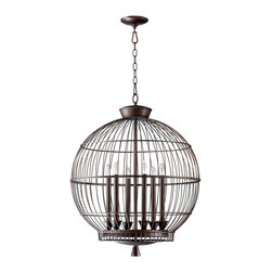 Hendricks Birdcage Pendant - The form of a caged chandelier gives the billowing outline and global balance of a lantern, while the sleek dark finish of the Hendricks Birdcage Pendant helps this hanging light to feel polished and sophisticated when it floats above a foyer or a round dining table.  High metal tapers allude to lighting tradition in this innovative, upscale design for your transitional home.
