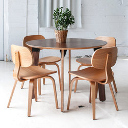 Sudbury Dinette - Gus Sudbury Dining Table in Walnut and Thompson Chairs in Natural Oak