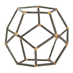Arteriors - Harmon Accessory, Small - These hammered iron rods have been welded together with brass to create pentagons which have then been assembled into a freestanding sculpture. These look great in a bookcase, sitting on top of a stack of books, or they can cage an orchid.