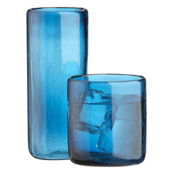 Salud Glasses - Cobalt blue glassware will add a punch of color to your table setting. These could also double as candleholders.