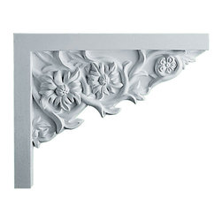"""Ekena Millwork - 9""""W  x 7 1/4""""H x  5/8""""P Floral Small Stair Bracket, Right - 9""""W  x 7 1/4""""H x  5/8""""P Floral Small Stair Bracket, Right. With the beauty of original and historical styles, decorative stair brackets add the finishing touch to stair systems. Manufactured from a high density urethane foam, they hold the same type of density and detail as traditional plaster stair bracket products. They come factory primed and can be easily installed using standard finishing nails and/or polyurethane construction adhesive."""