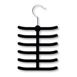 """Honey Can Do - Velvet Touch Black Tie Hanger - Pack of 2 - Space Saving Design. Super Slim Design. 12 Large Hooks. Hang Accessories Securely. Versatile Design. Organize Belts. Ties. Scarves & Jewelry. 6.6 in. L x 0.23 in. W x 11 in. H (0.4 lbs.)Honey-Can-Do HNG-01955 2-Pack Velvet Touch Tie and Belt Hanger, Black. This versatile tie and belt hanger gets your belts, ties, scarves, and jewelry organized and easily accessible. Features a 360 degree swivel rod hook to hang items easily on any closet rod or wall hook. Velvet coating is gentle on delicate fabrics and leather, plus provides a non-slip surface that holds items in place. Space-saving design makes the most use of available hanging space with the slim 1/4"""" profile. Twelve hooks in all."""