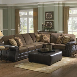 Austin Sectional from Jackson Furniture - The Austin is smaller in size, but not in style.  The seat and back cushions are upholstered in a soft, luxurious chenille with contrasting leather-like welt that matches the body of this two-piece sectional.  Throw in three pairs of toss pillows in coordinating fabrics with decorative fringe to finish off the look.