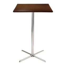 """Winsome Wood - Winsome Wood Kallie Pub Table with Cappuccino / Metal Finish X-43539 - Kallie Square Pub Table is perfect additional for your kitchen or game room.  Table top size is 23.62W x 23.62""""D.  Laminated Table Top in Cappuccino Finish with chrome leg and base.  Assembly Required"""