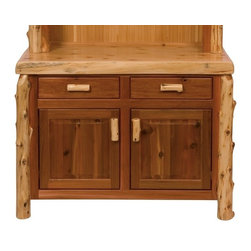 Fireside Lodge Furniture - Cedar 48 in. Log Buffet in Lacquer Finish - Cedar Collection. 2 Dovetailed drawers. 2 Storage cabinets. All drawer fronts and doors are inset for added beauty and quality. All hinges are concealed European Style for a clean uncluttered look. Full-extension ball-bearing glides rated to 100 pounds. Northern White Cedar logs are hand peeled to accentuate their natural character and beauty. Individually hand crafted. Clear coat catalyzed lacquer finish for extra durability. 2-Year limited warranty. 48 in. W x 24 in. D x 36 in. H (165 lbs.)