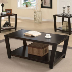 Coaster - Cappuccino Contemporary 3 Pack - The perfect addition to your living room this 3pc occasional table features a contemporary design and a rich dark cappuccino finish.