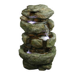 YOSEMITE HOME DECOR - 32 Inch Tiered Rock Fountain - Water flows down four small tiers
