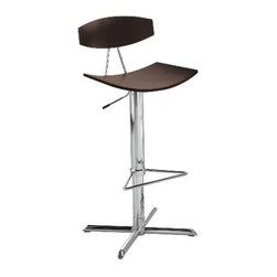 Enzo bar/counter stool - Discontinued - This bar stool mixes wood with chrome and modern lines with comfort. A big bonus is the foot rest.