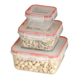 Cookpro - 6-piece Lock and Seal Container Set with Square Lids - You're looking fresh and tight, in your food-grade plastic with your matching, locking, airtight lids. You're nearly too good looking to keep in the cabinet and almost hotter than that microwave you just came out of. And you can nest together to save on space? Baby, you can take all the space you need.