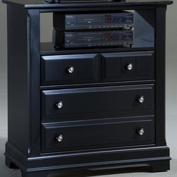 Vaughan Bassett - 2-Drawer Media Chest in Black Finish - 2 Drawers. 1 Open shelf. Black finish. Assembly required. 34 in. W x 18 in. D x 38 in. H